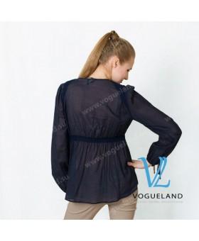 Блуза синяя с вышивкой