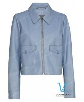 Куртка кожаная голубая