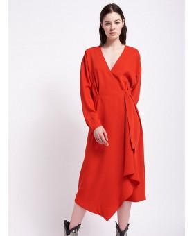 Платье красное с запахом