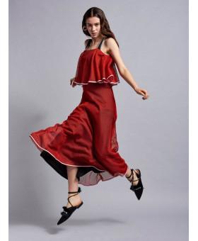 Платье красное в сеточку