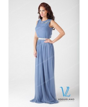 Платье в пол синее