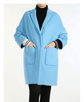 Пальто голубое кокон