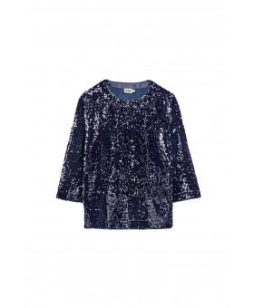 Блуза синяя пайетки